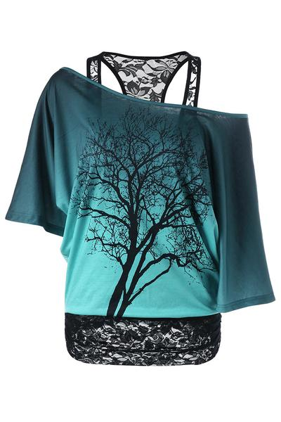 Tree Print Scoop One Shoulder Lace Patchwork Short Sleeves T-shirt