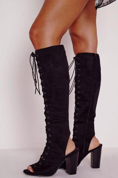 Faux Suede Lace-Up Peep-Toe Knee High Chunky Boots