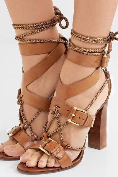 Hasp Straps Ankle Wraps Open Toe High Chunky Heels Sandals