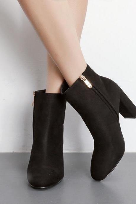 Solid Color Pointed Toe Side Zipper Middle Chunky Heels Short Boots