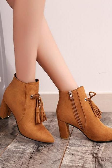 Suede Pointed-Toe Chunky Heel Ankle Boots with Tassels