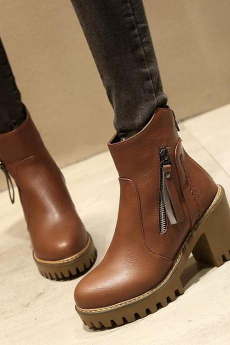 Zipper Tassels Round Toe Platform Middle Chunky Heels Short Boots