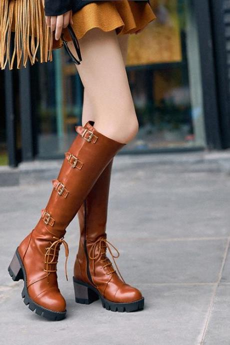Lace Up Round Toe Middle Chunky Heels Long Boots