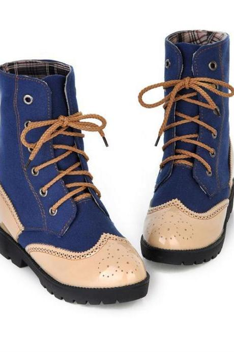 Patchwork Lace Up Round Toe Flat Short Boots