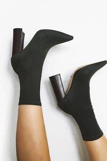 Pointed-Toe Chunky Heel Mid-Calf Sock Boots