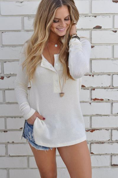 Solid Color Buttons Long Sleeves Pullover Sweater