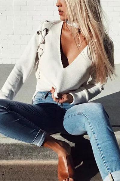 Pure Color Long Sleeves V-neck Short Sweater