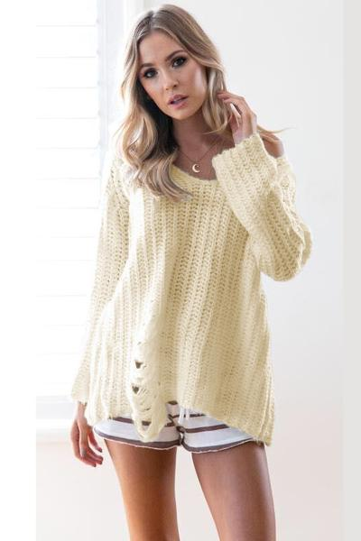 Pure Color Cut Out Bagger Style Loose Sweater