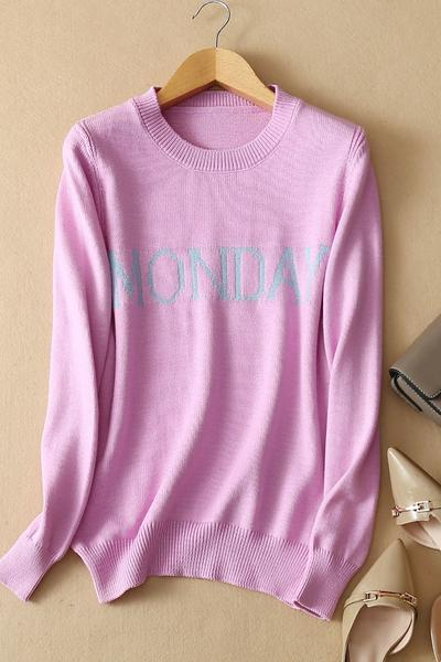 Letter Print Scoop Candy Color Slim Pullover Sweater