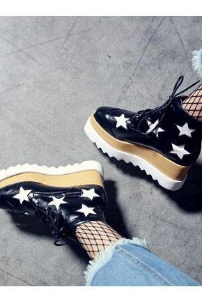 Round Toe Leather High Top Sneakers with Stars - Black , Silver, Champagne