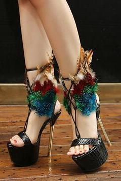 Feather Embellished Criss-Cross Lace-Up Platform Stiletto Heels - Black / Red
