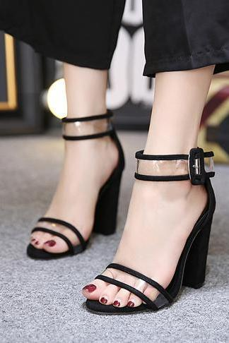 Open Toe Transparent Ankle Wrap Back Zipper High Chunky Heels Sandals