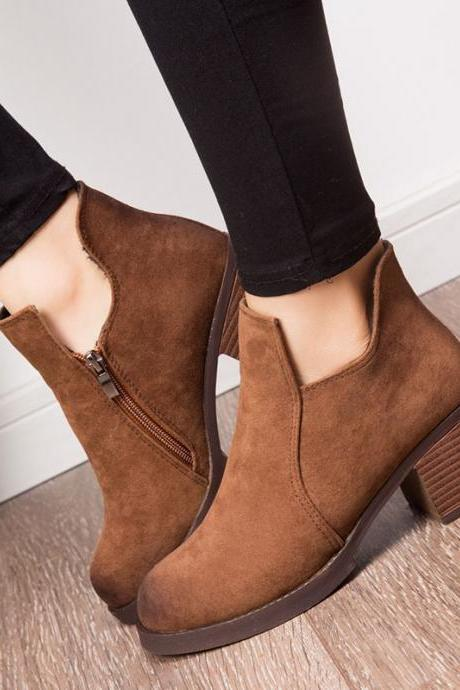 Low Cut Side Zipper Round Toe Low Chunky Heels Short Boots