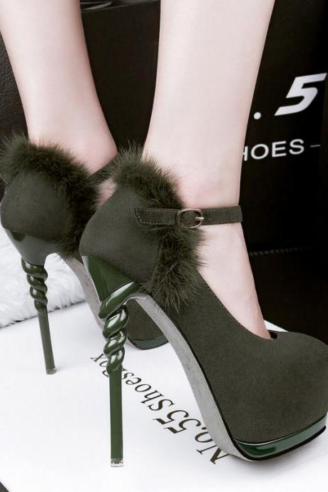 Rounded Toe Platform Suede Stiletto Pumps and Ankle Strap Adorned with Faux Fur