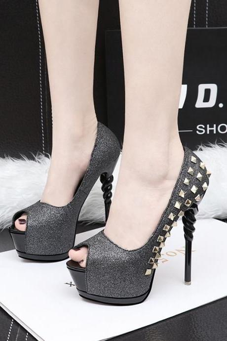 Rivets Peep Toe Platform Supper High Heels Sandals