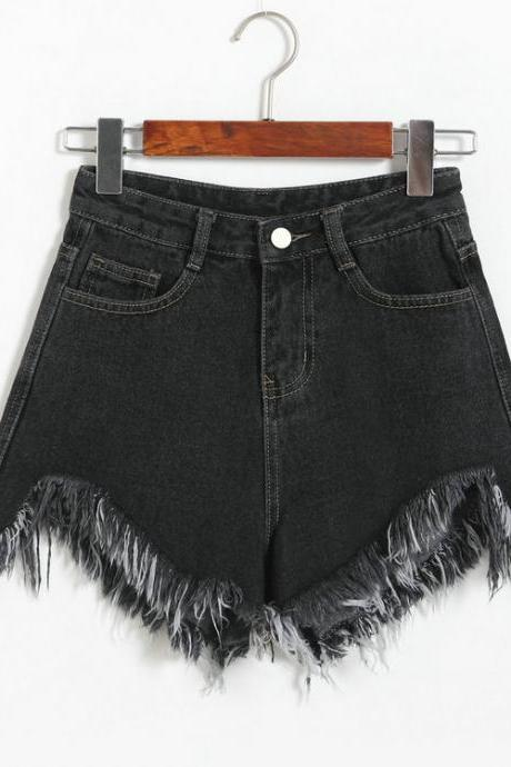 High Waist Irregular Tassel Loose Denim Shorts