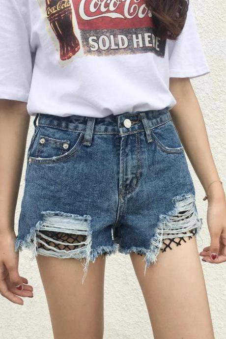 Cut Out Rough Holes High Waist Wide-leg Shorts