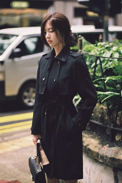 Long Sleeves Lapel Belt Double Breasted Slim Long Coat