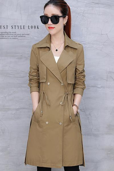 Drawstring Waist Lapel Candy Color Long Coat