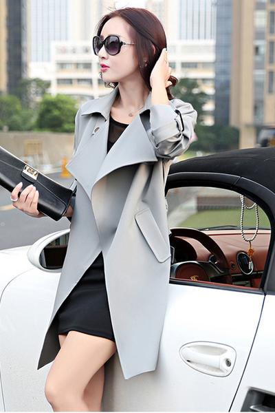Simple Style Pure Color Lapel Strap Belt Long Coat
