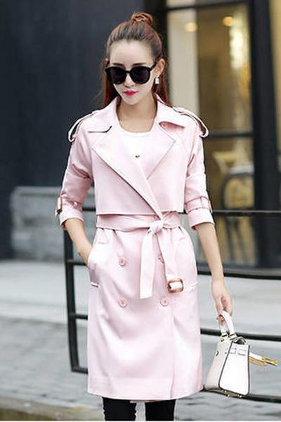 Candy Color Long Sleeves Lapel Belt Slim Long Belt Coat