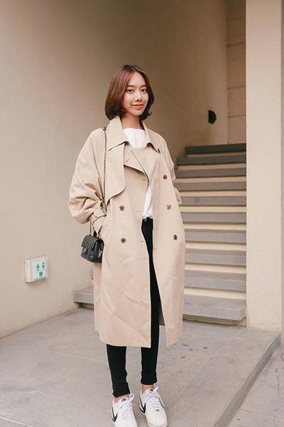 Double Breasted Buttons Loose Sleeves Long Coat