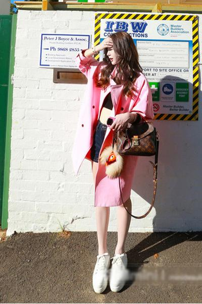 Candy Color Long Sleeves Lapel Belt Loose Long Coat