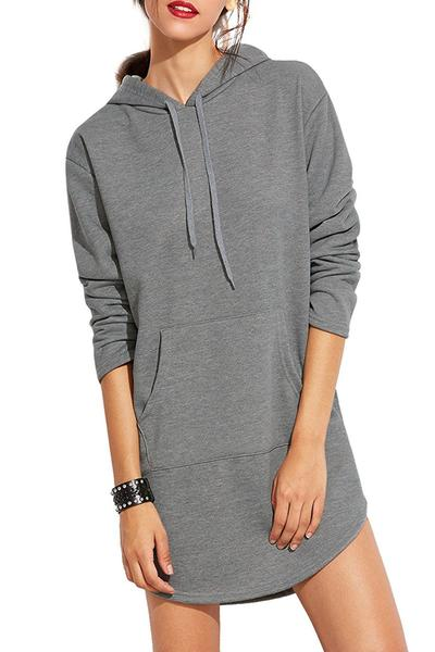 Solid Color Drawstring Pocket Irregular Long Hoodie