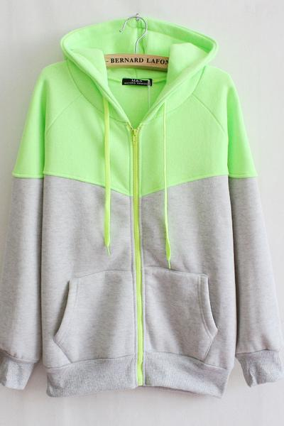 Color Block Patchwork Drawstring Zipper Pockets Hoodie