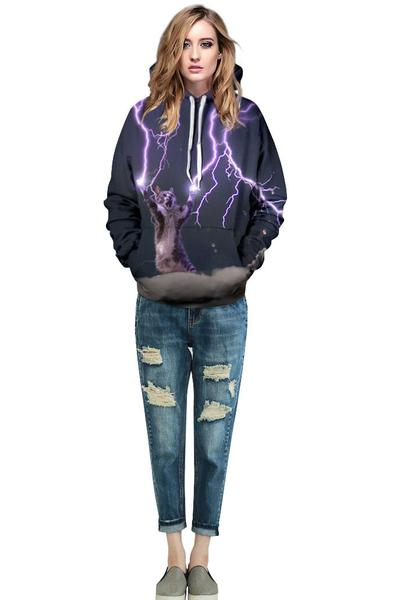 Galaxy Cat Print Drawstring Pocket Hoodie