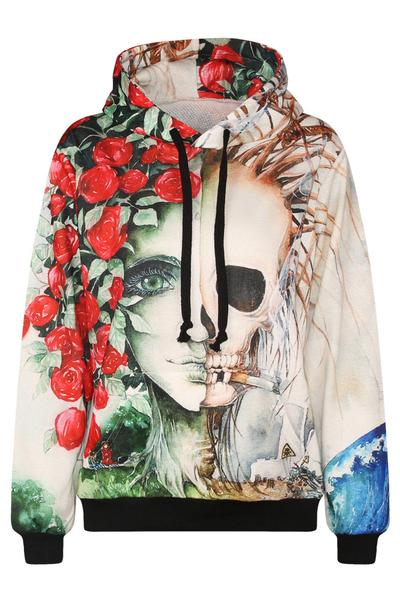 Rosy and Skull Print Drawstring High Neck Slim Hoodie