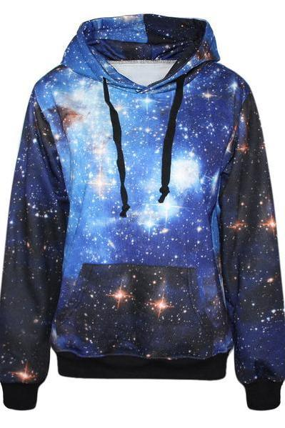 Galaxy Stars Print Drawstring Pocket Slim Hoodie