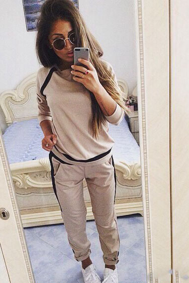 Patchwork Candy Color Sweatshirt with Skinny Pants Two Pieces Sports Set