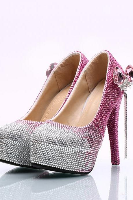 Gradient Pink Crystal Rhinestone Platform Super Stiletto High Heels Party Shoes