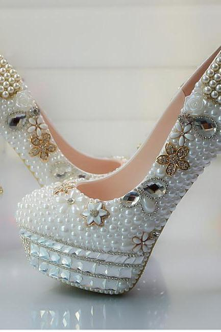 Crystal Beadings Round Toe Platform Stiletto High Heels Party Bridal Shoes