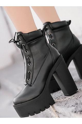 PU Pure color Zipper Chunky Heel Round Toe High Heels