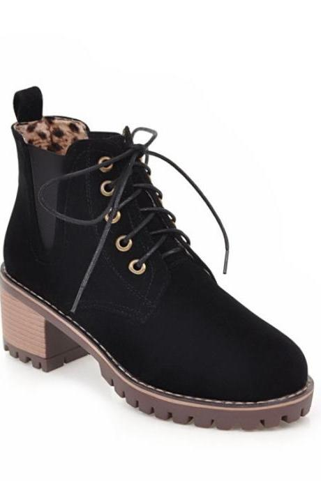 PU Lace-Up Pure color Round Toe Boots