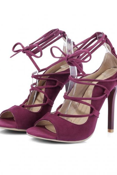 PU Pure Color Stiletto Heel Peep-toe Straps High Heels