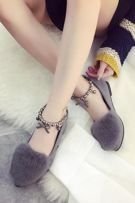 Suede Pure Color Flat Round Toe Ankle Strap Sandals
