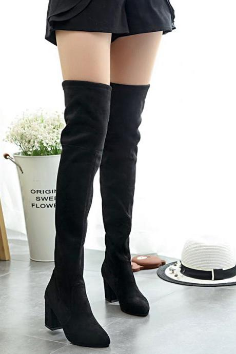 Faux Suede Rounded Toe Over-The-Knee Chunky Heel Boots