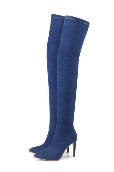 Denim Pointed-Toe Over-The-Knee High Heel Boots