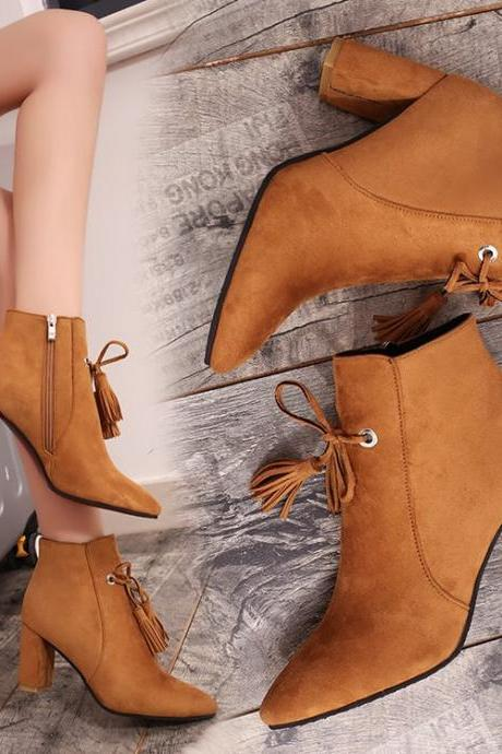 Suede Pure Color Chunky Heel Pionted Toe Short Boots