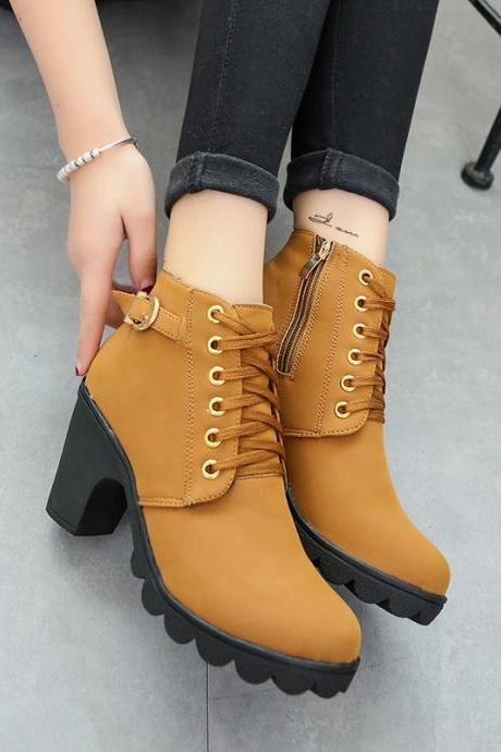 Chunky Heel PU Round Toe Pure Color Lace-up Short Boots