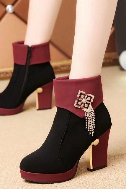 Suede Patchwork Zipper Chunky Heel Round Toe High Heels
