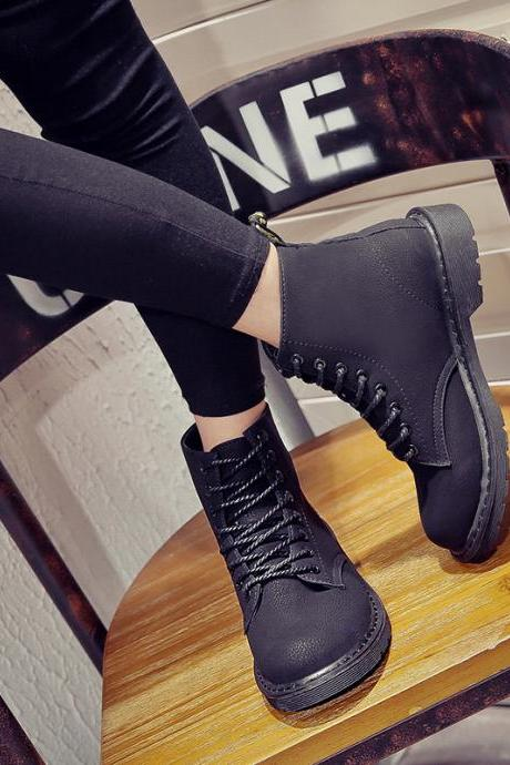 Suede Black Chunky Heel Round Toe Lace-Up Short Retro Boots