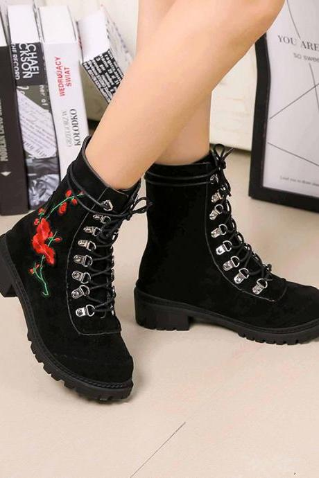 Scrub Pure color Lace-Up Chunky Heel Round Toe Boots