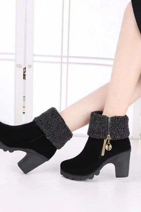 Chunky Heel Suede Pure Color Round Toe High Boots