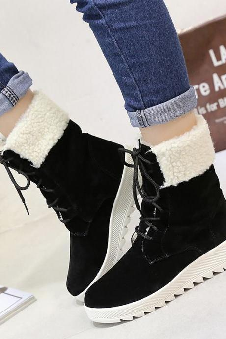 Scrub Pure color Lace-Up Slope Heel Round Toe Boots