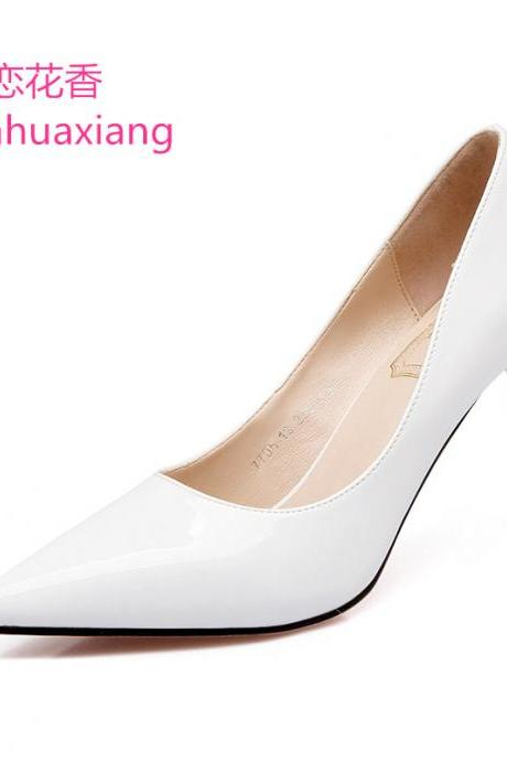 Pointed-Toe High Heel Stilettos in Faux Leather or Patent Leather
