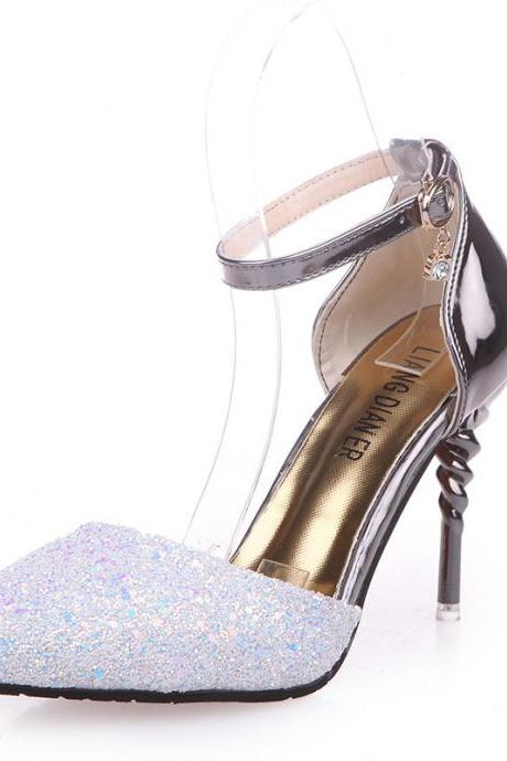Pointed-Toe Rhinestone Embellished Ankle-Strap Stilettos, High Heels